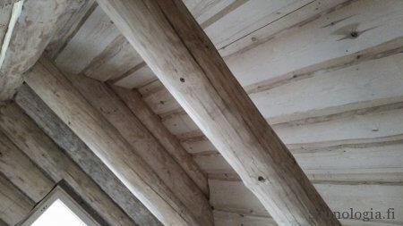 """Pukuhuoneen katto valmiina, """"panelointi"""" tuppeen sahatusta, kuoritusta männystä."""