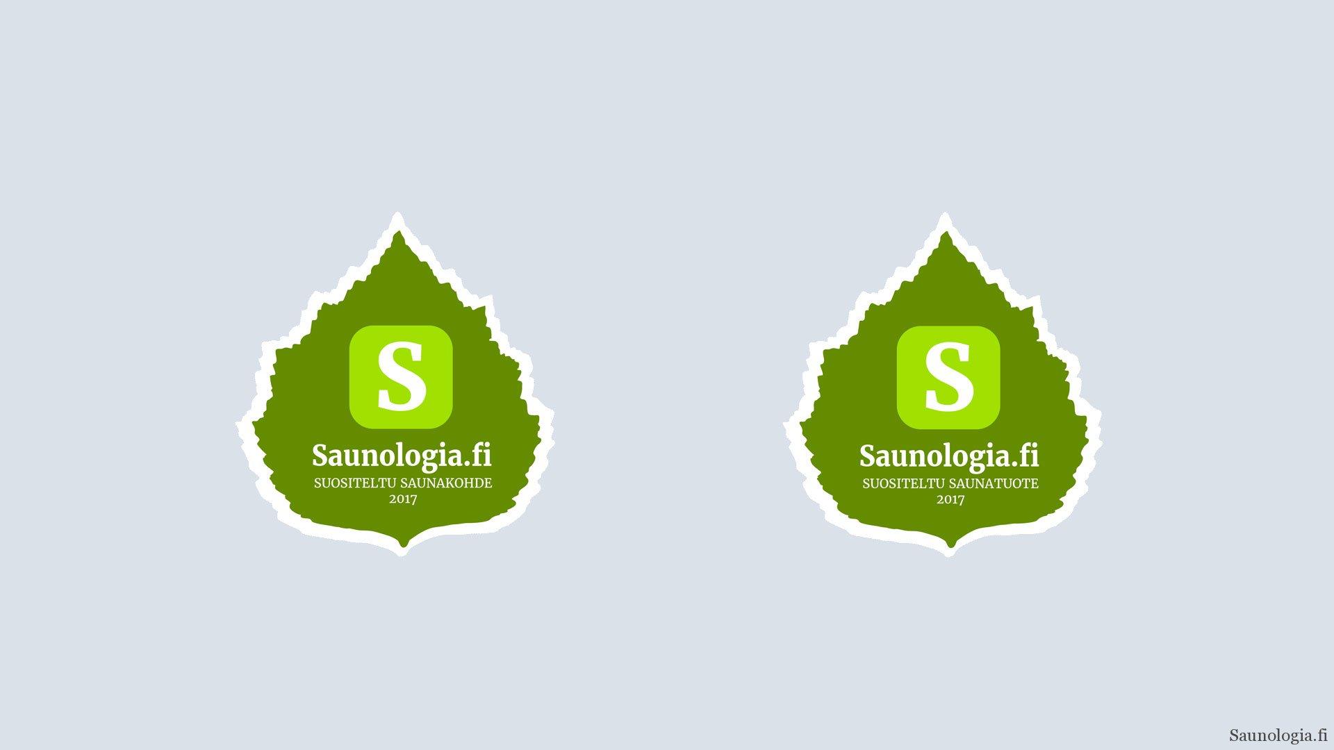 Saunologian suositeltu saunatuote ja saunakohde merkit