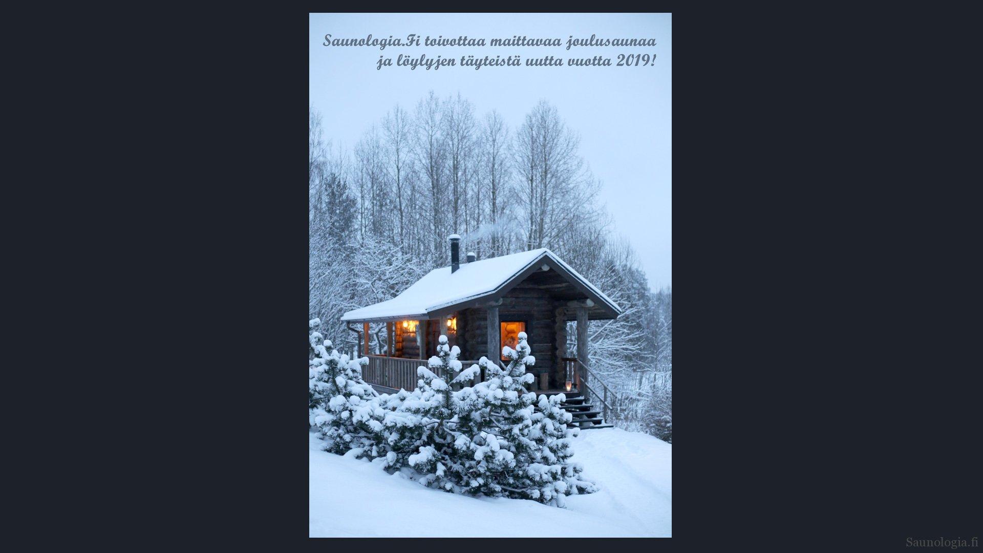 Saunologian joulukortti 2018